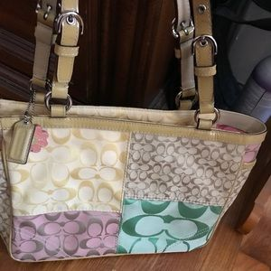 Authentic coach pastel colored hand bag